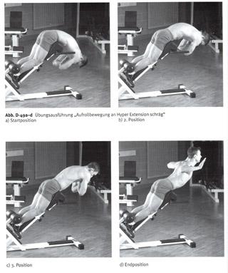 Dynamische Rückenstreckerübung Hyperextension-schräg